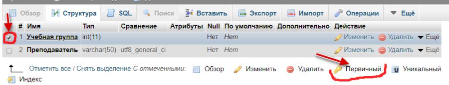 Установка первичных ключей в mysql