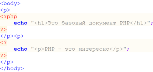 использование тегов в php