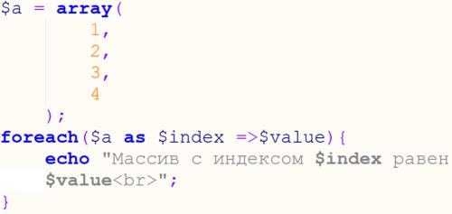 цикл foreach в php пример