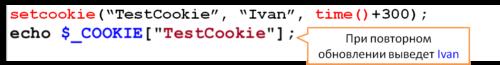 Пример установки cookie php