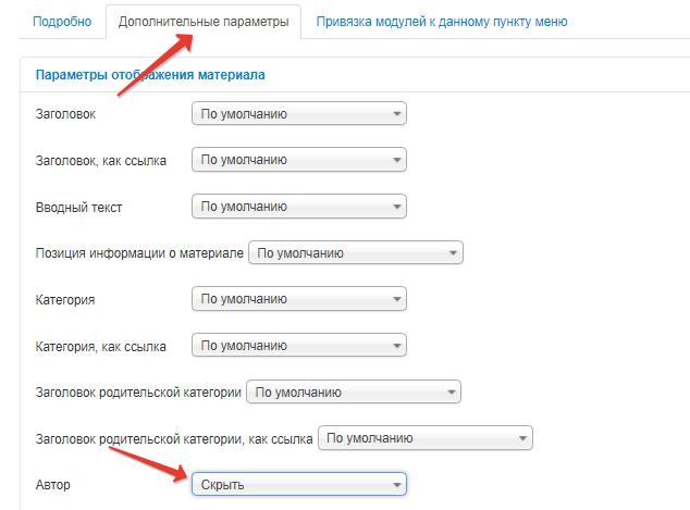 дополнительные параметры пункта меню