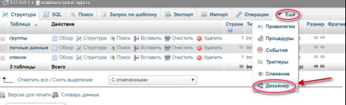 дизайнер схемы данных в phpmyadmin