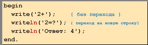 оператор write и writeln