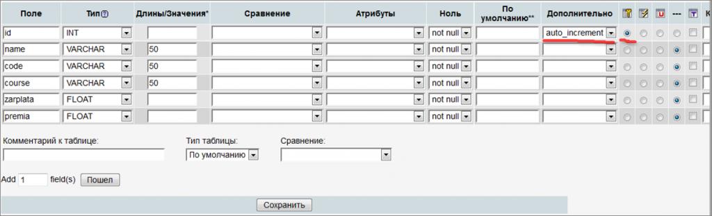 создание таблицы mysql