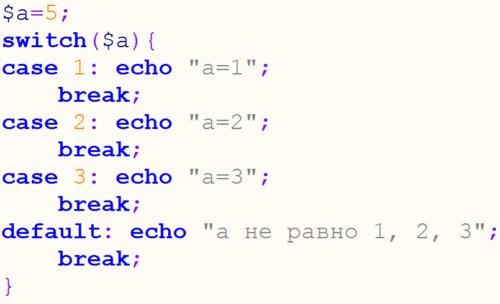 условный оператор switch php
